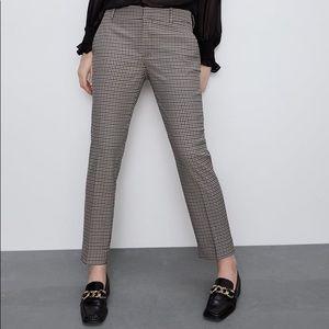 Zara pull-on plaid trouser pants